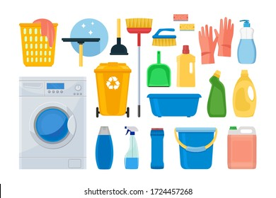 Cleaning. icons. Washing machine, detergents and cleaning products for cleaning the house. Vector illustration isolated on a white background