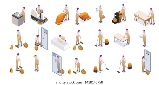Cleaning isometric isolated icon set with cleaners in overalls wash dishes floors plumbing and windows vector illustration