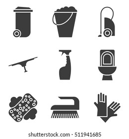 Cleaning items and tools concepts icons set. Silhouette symbols. Trash can, bucket, vacuum cleaner, spray, toilet, brush and rubber gloves. Vector isolated illustration
