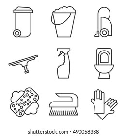 Cleaning items and tools linear icons set. Trash can, bucket, vacuum cleaner, spray, toilet, brush and rubber gloves. Vector isolated illustration.