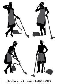 Cleaning Lady Housewife With Vacuum Cleaner Silhouette on white background