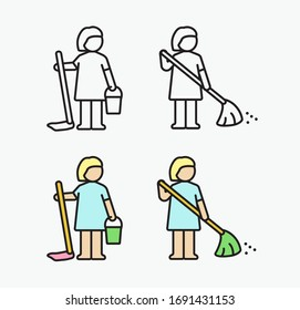 Cleaning lady icon. Vector illustration in flat style.
