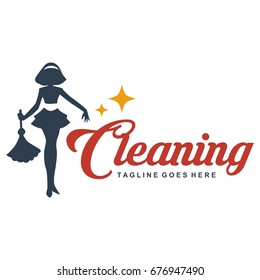 Cleaning lady service woman maid logo template