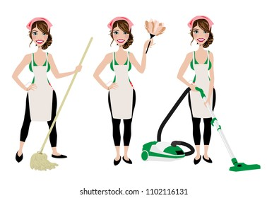 Cleaning lady in three different poses with vacuum cleaner, mop and duster cleaner.  Adult brunette vector maid cleaning graphic. Housewife cleaning with mop, vacuum, and duster. Rag on head.