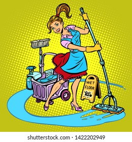 cleaning lady washes the floor. Comic cartoon pop art retro vector illustration drawing