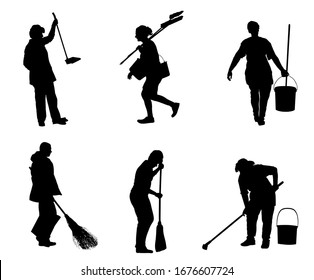 Cleaning lady wit broom. Housemaid cleaner with besom vector silhouette Isolated on white. Woman floor care service with washing mop in sterile factory or clean hospital. Housework job. House wife.