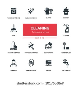 Cleaning - line design silhouette icons set. High quality black pictogram. Gloves, bucket, mop, clean and shiny, washing machine, vacuum cleaner, window scraper, soap sponge, toilet brush, duster, tap