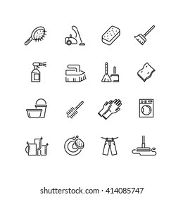 Cleaning line icons. Brush, equipment, broom, household, service. Vector illustration