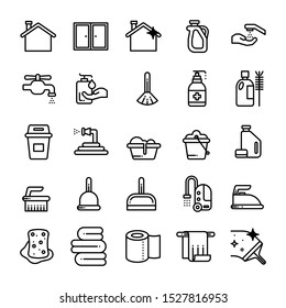 Cleaning line icons. Laundry, Sponge and Vacuum cleaner signs. Washing machine, Housekeeping service and Maid equipment symbols. Window cleaning and Wipe off. Quality design elements.