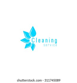 Cleaning logo service mockup, blue fresh water drops disposition in a flower circle, droplet clean home icon
