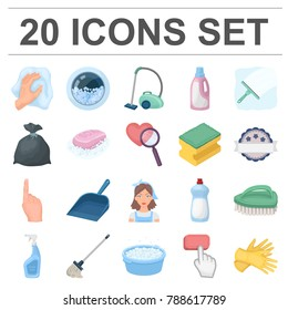 Cleaning and maid cartoon icons in set collection for design. Equipment for cleaning vector symbol stock web illustration.