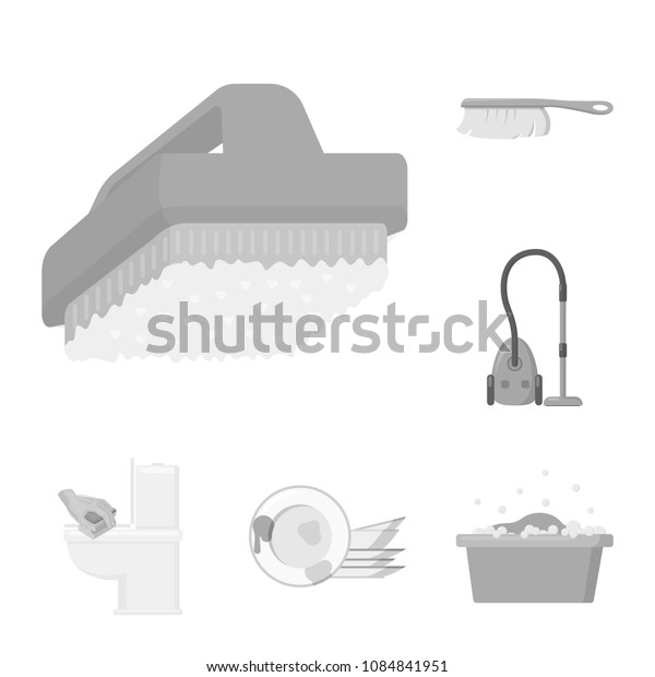 Cleaning and maid monochrome icons in set collection for design. Equipment for cleaning vector symbol stock web