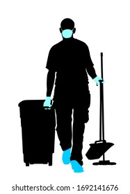 Cleaning man with protective gear, face mask, medical gloves vector silhouette. Floor care service with washing mop sterile. Trash bin worker clean hospital. Decontamination against corona virus covid