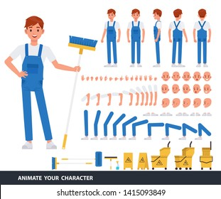 Cleaning man staff character vector design. Create your own pose.