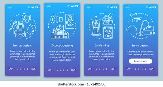 Cleaning methods onboarding mobile app page screen vector template. Pressure washing. Walkthrough website steps, linear illustration. Dry, steam cleanup. UX, UI, GUI smartphone interface concept