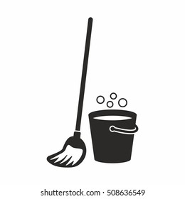 Cleaning, mop icon