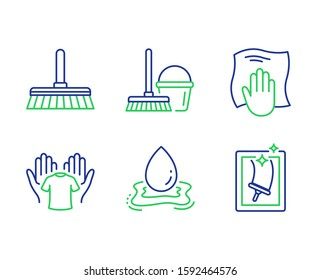 Cleaning mop, Water splash and Washing cloth line icons set. Hold t-shirt, Bucket with mop and Window cleaning signs. Sweep a floor, Aqua drop, Wipe with a rag. Laundry shirt. Cleaning set. Vector