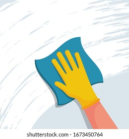 Cleaning napkin in the hands of a houseworker. Cleaning window. Wipe with a cloth, blue microfiber, yellow gloves. Housekeeping service. Vector illustration flat design. The concept of disinfection.