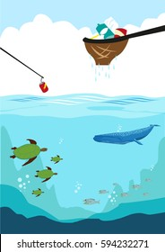 Cleaning up the ocean by collecting different forms of trash like plastic. Editable Clip Art.
