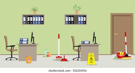 """Cleaning in the office room. There is a """"Caution! Wet floor"""" sign, a mop, a broom, a scoop and other objects in the picture. Vector flat illustration."""