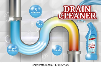 Cleaning pipes. Ads placard of bathroom piping drain plumber vector realistic promotional poster fresh tubes