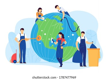 Cleaning planet people vector illustration. Cartoon flat volunteer cleaner characters clean, care globe Earth, collect plastic waste. World ecology, environment, nature protection isolated on white