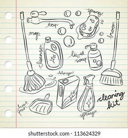 cleaning product in doodle style