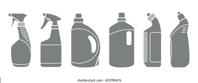 Cleaning product plastic container for house clean. Bottles of cleaning products