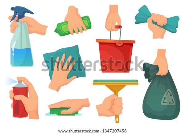 Vector De Stock Libre De Regalias Sobre Limpiando Productos En