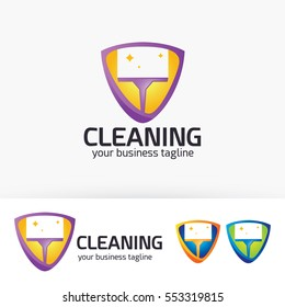 Cleaning, service, agency. Vector logo template