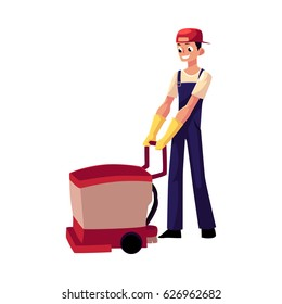 Cleaning service boy, man, cleaner in overalls using floor cleaning machine, front view cartoon vector illustration isolated on white background. Cleaning service boy with floor washing machine