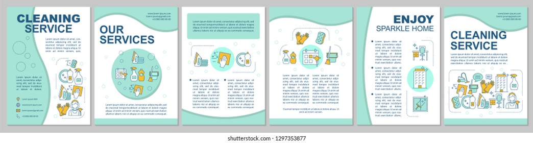 Cleaning service brochure template. Household chores. Flyer, booklet, leaflet print design. Housework, housekeeping. Maid service. Office, house cleaning. Vector page layouts for magazines, posters