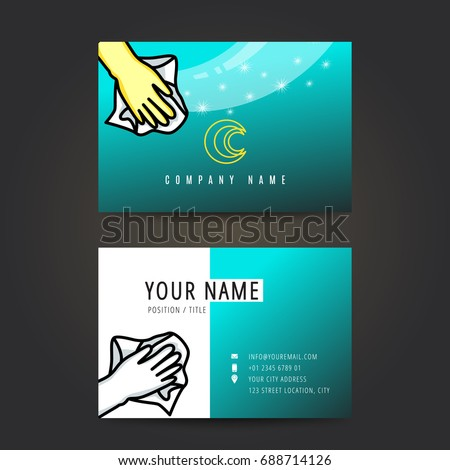 Cleaning Service Business Card Logo Design Stock Vector Royalty