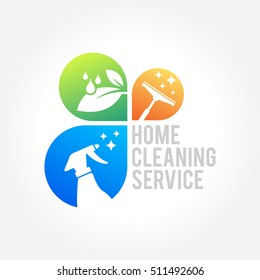 cleaning service business logo design eco friendly concept for interior home and building