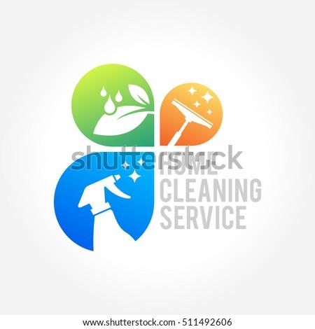 Cleaning Service Business Logo Design Eco Stock Vektorgrafik