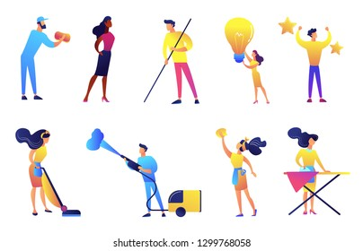 Cleaning service company workers and cleaners vector illustrations set. Cleaning company staff, professional cleaning services concept. Vector illustrations set isolated on white background.