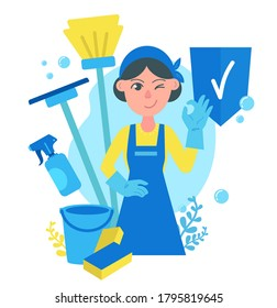 Cleaning service concept, girl in apron and rubber gloves, shows The OK or ring gesture. Cleaning tools - a mop, a sponge for washing, a bucket of water, a spray bottle, and bubble. Health protection