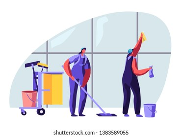 Cleaning Service Female Characters Sweeping and Mopping Floor with Mop, Washing Window with Rag. Other Equipment Standing on Trolley. Professional Cleaning Company. Cartoon Flat Vector Illustration