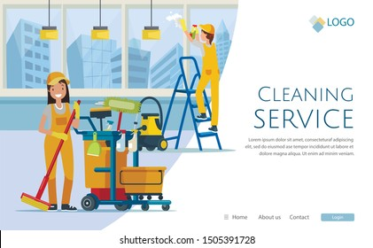 Cleaning Service Flat Cartoon Banner Vector Illustration. Janitor Pushing Trolley Cart with Cleaning Supplies Landing Page. Worker Wiping Floor with Mop. Woman Washing Window on Ladder Website.