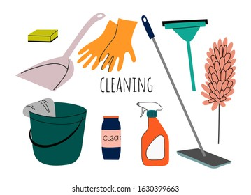Cleaning service flat cartoon illustration. Set of Isolated objects for house cleaning services with various equipment and cleaning tools.