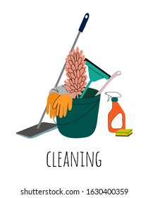 Cleaning service flat cartoon illustration. Poster template for house cleaning services with various equipment and cleaning tools.
