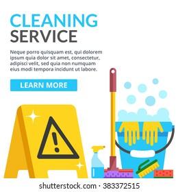 Cleaning service flat illustration. Creative modern web banner. Caution wet floor sign, plastic blue bucket, mop, sponge, brush, detergent product, glass cleaner. Vector illustration