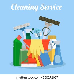 Cleaning service flat illustration. Poster template for house cleaning services with various cleaning tools