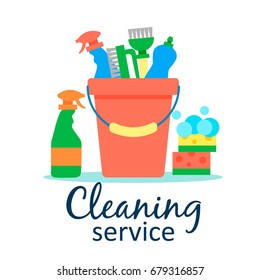 Cleaning service flat illustration. Poster template for house cleaning services with various cleaning tools.