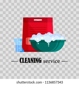 Cleaning service. Flat plastic basin with soap foam, powder and beaker on transparent background. Washbowl with suds, household cleaning equipment for washing vector illustration
