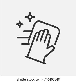Cleaning service. Flat vector icon with hand in rubber glove