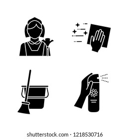 Cleaning service glyph icons set. Maid, cleaning napkin, broom and bucket, air freshener. Silhouette symbols. Vector isolated illustration