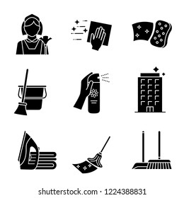 Cleaning service glyph icons set. Maid, napkin, sponge, broom and bucket, air freshener, ironing, offices cleaning, scoop, brush, mop. Silhouette symbols. Vector isolated illustration