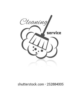 Cleaning service icon with dust brush and bubbles vector illustration