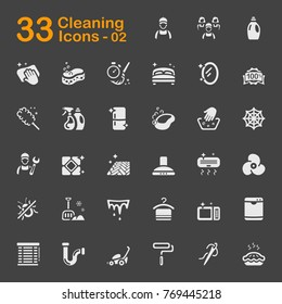 Cleaning service icons for mobile phone interface, web and applications.